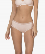 Hanro hipster soft cotton lace poudre